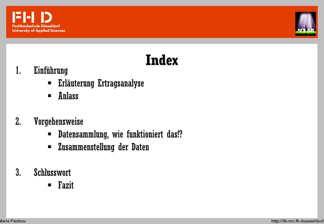 Index Einführung Erläuterung Ertragsanalyse Anlass Vorgehensweise