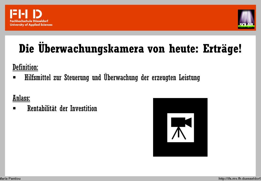 Die Überwachungskamera von heute: Erträge!