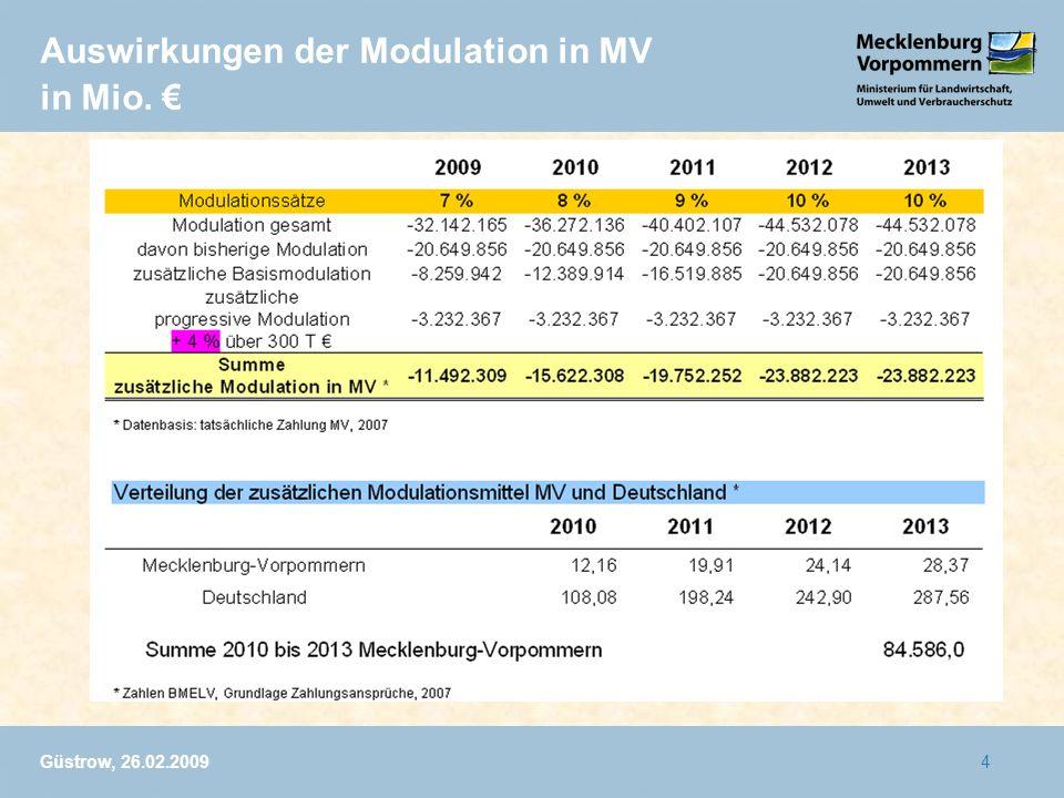 Auswirkungen der Modulation in MV in Mio. €