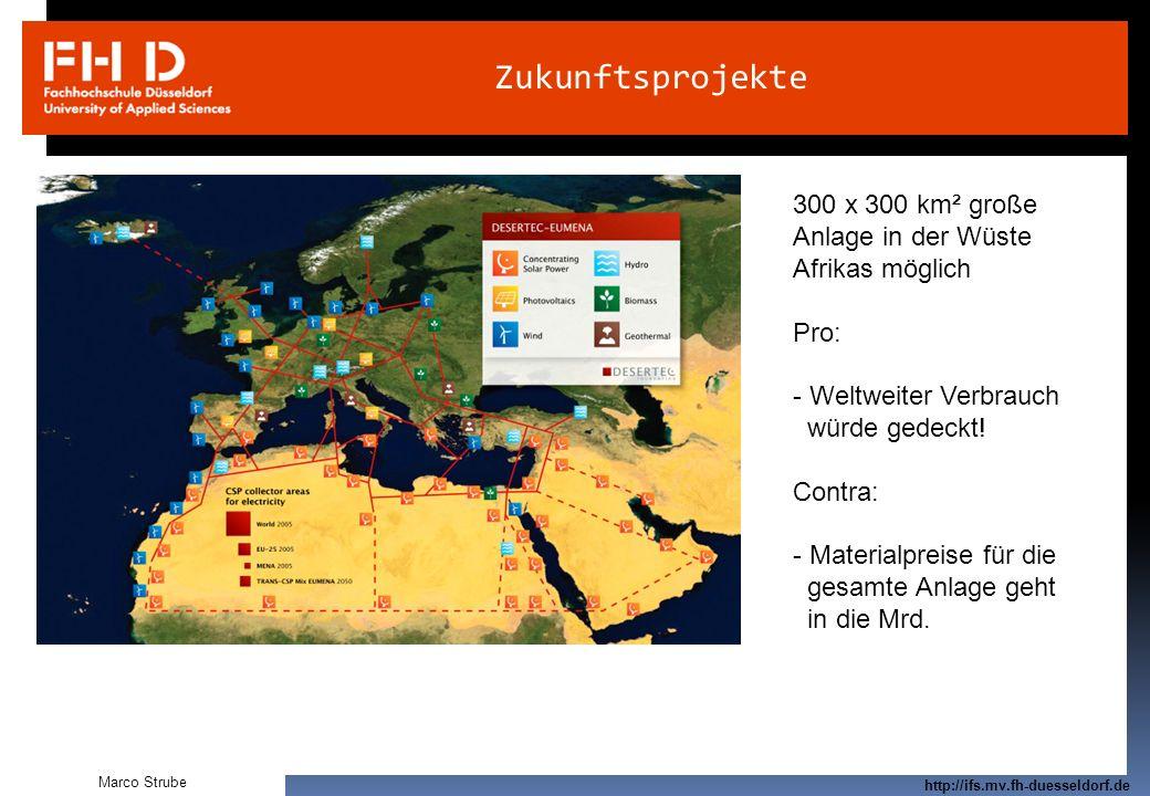 Zukunftsprojekte 300 x 300 km² große Anlage in der Wüste Afrikas möglich. Pro: Weltweiter Verbrauch.
