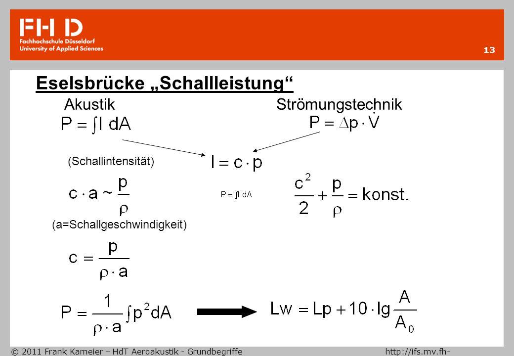 """Eselsbrücke """"Schallleistung"""