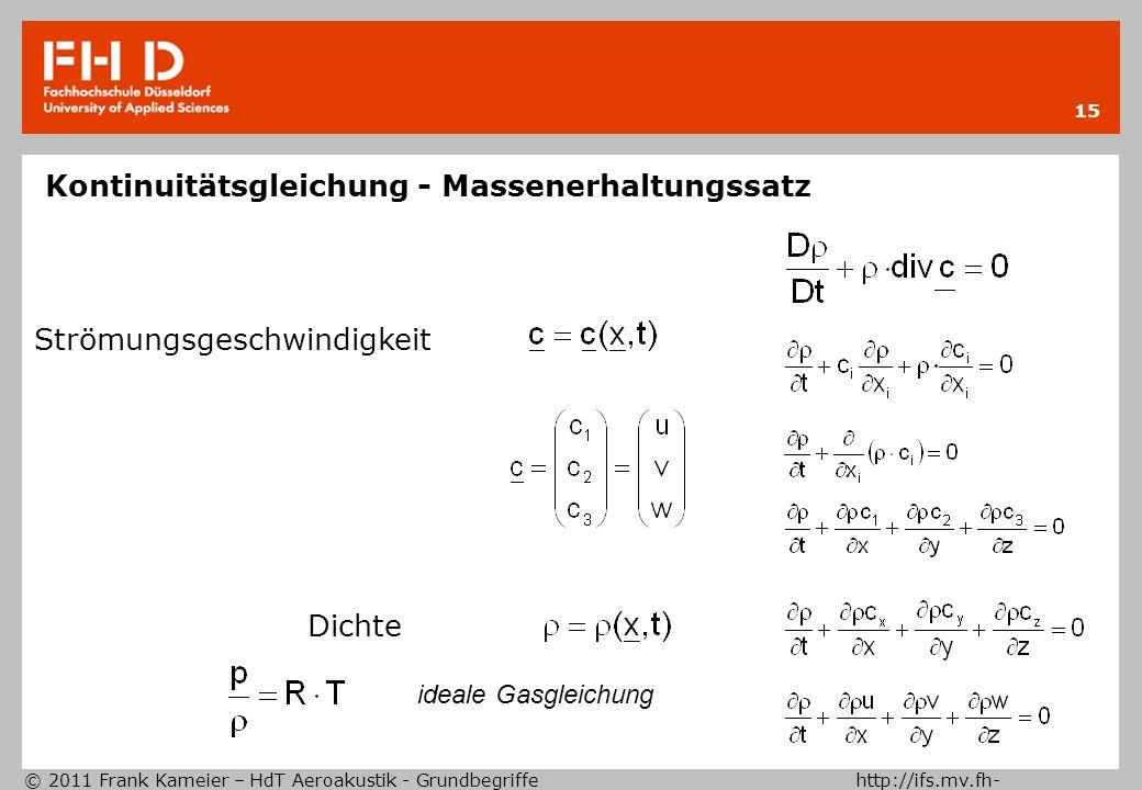 Kontinuitätsgleichung - Massenerhaltungssatz