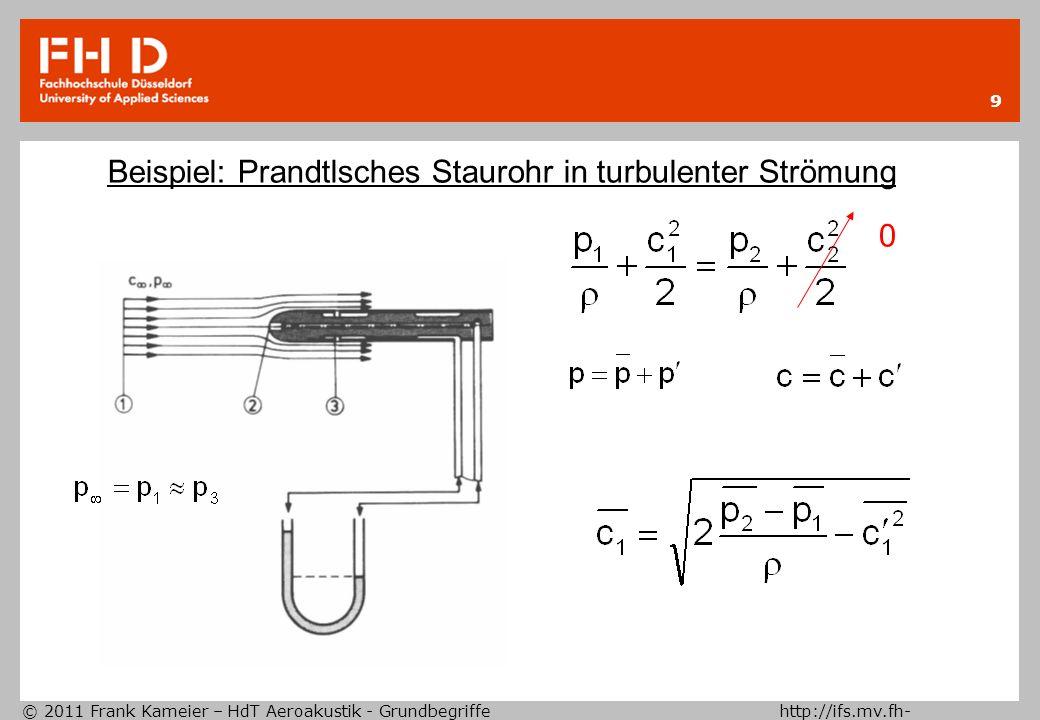 Beispiel: Prandtlsches Staurohr in turbulenter Strömung