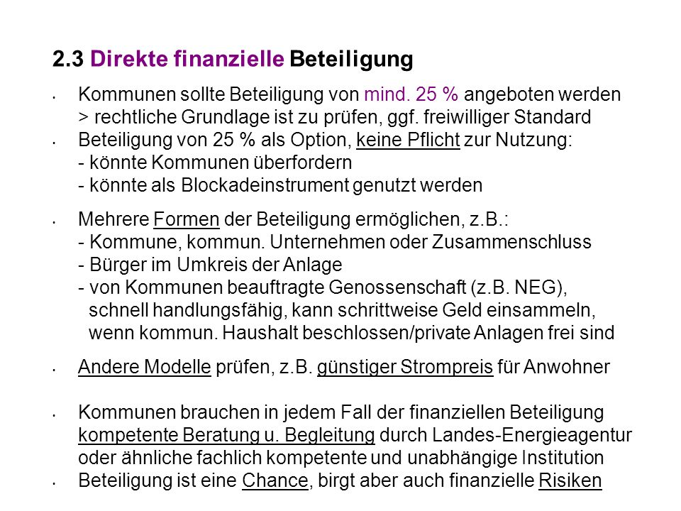 2.3 Direkte finanzielle Beteiligung