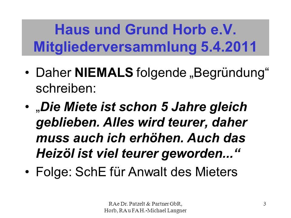 Haus und Grund Horb e.V. Mitgliederversammlung 5.4.2011