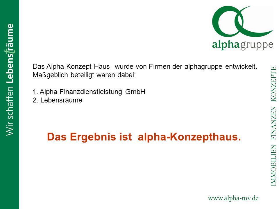 Das Ergebnis ist alpha-Konzepthaus.