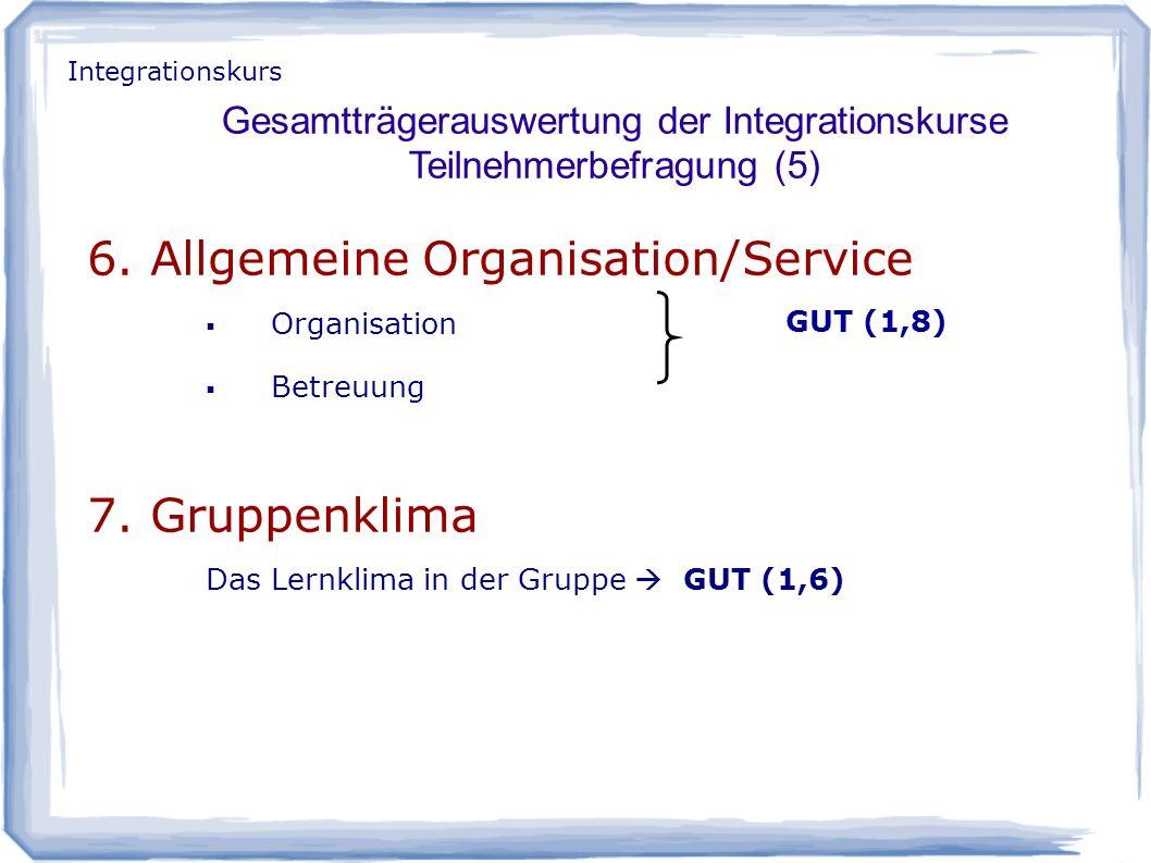 6. Allgemeine Organisation/Service