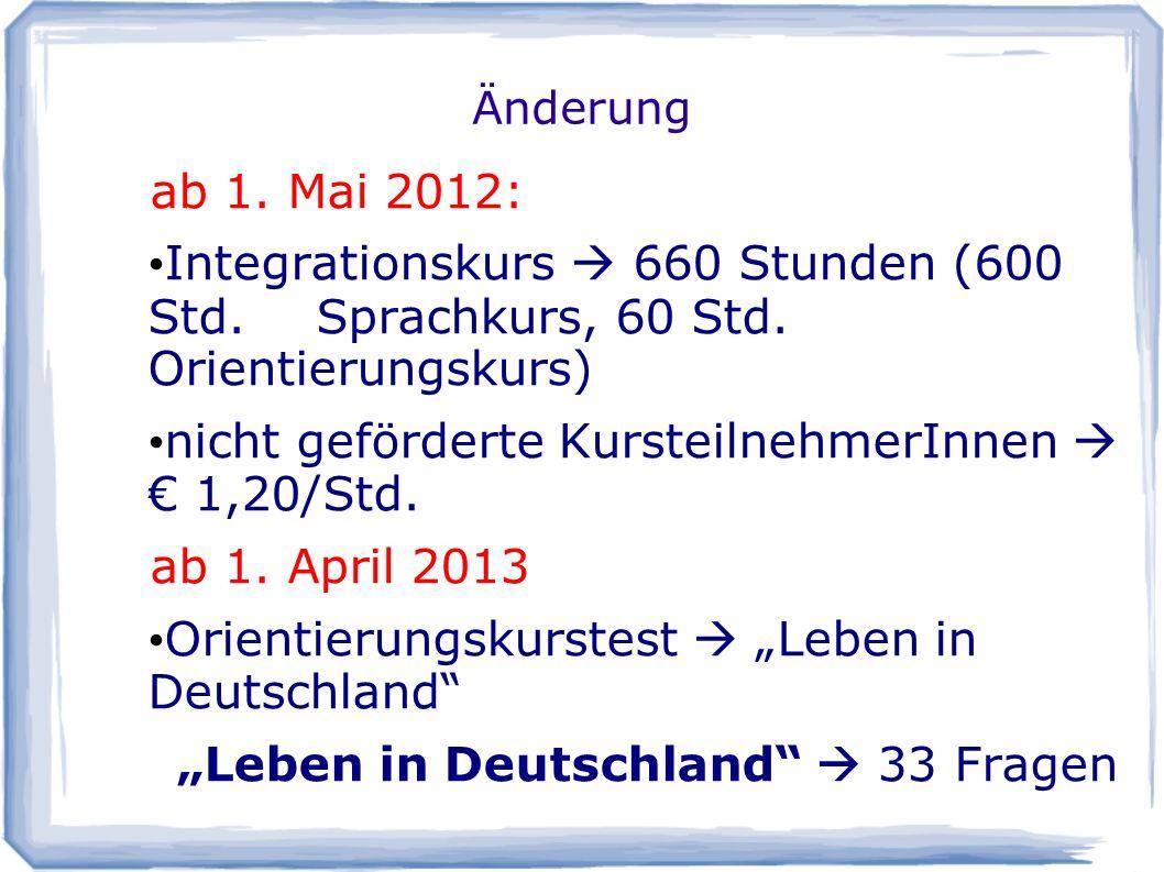nicht geförderte KursteilnehmerInnen  € 1,20/Std. ab 1. April 2013