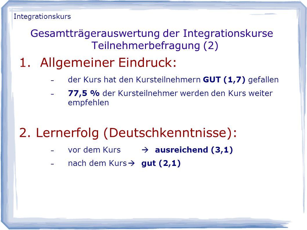 Gesamtträgerauswertung der Integrationskurse Teilnehmerbefragung (2)