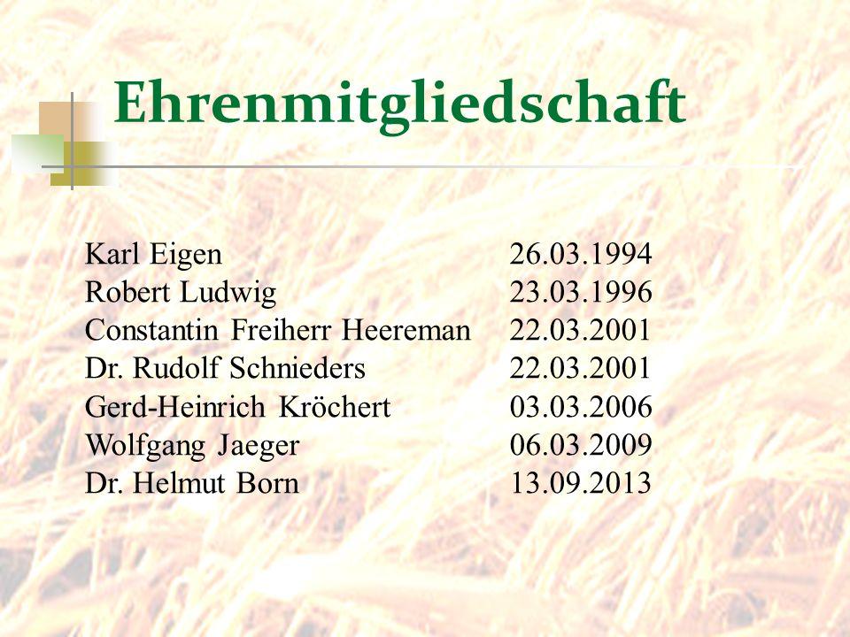 Ehrenmitgliedschaft Karl Eigen 26.03.1994 Robert Ludwig 23.03.1996