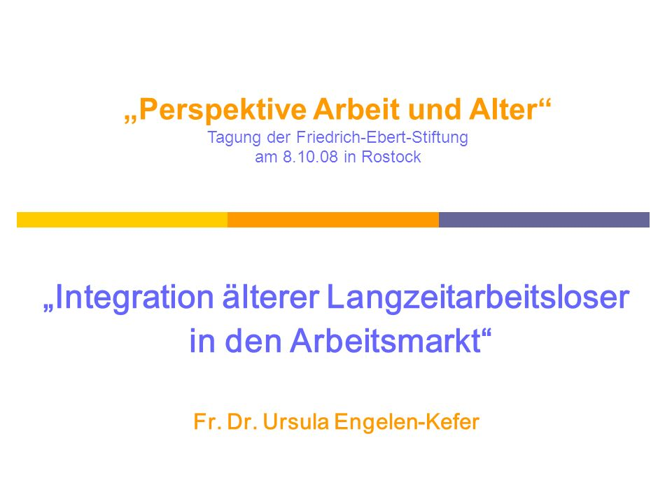 """""""Integration älterer Langzeitarbeitsloser in den Arbeitsmarkt"""