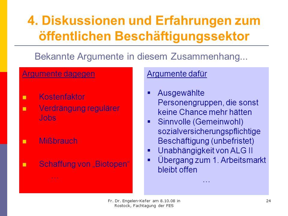 4. Diskussionen und Erfahrungen zum öffentlichen Beschäftigungssektor