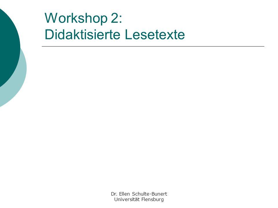 Workshop 2: Didaktisierte Lesetexte