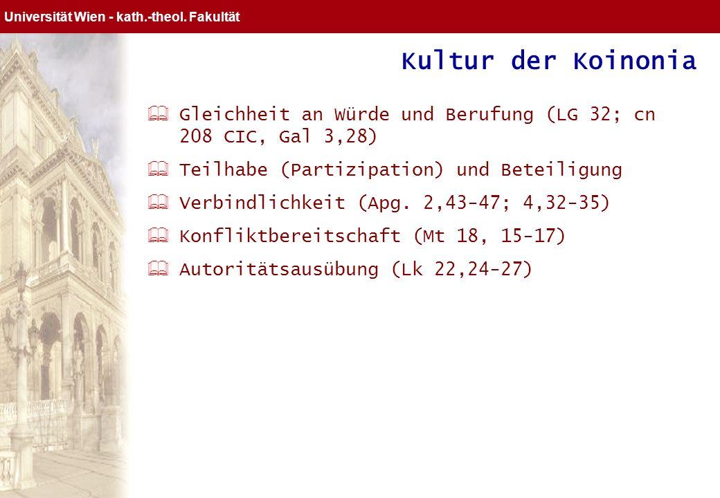 Kultur der Koinonia Gleichheit an Würde und Berufung (LG 32; cn 208 CIC, Gal 3,28) Teilhabe (Partizipation) und Beteiligung.