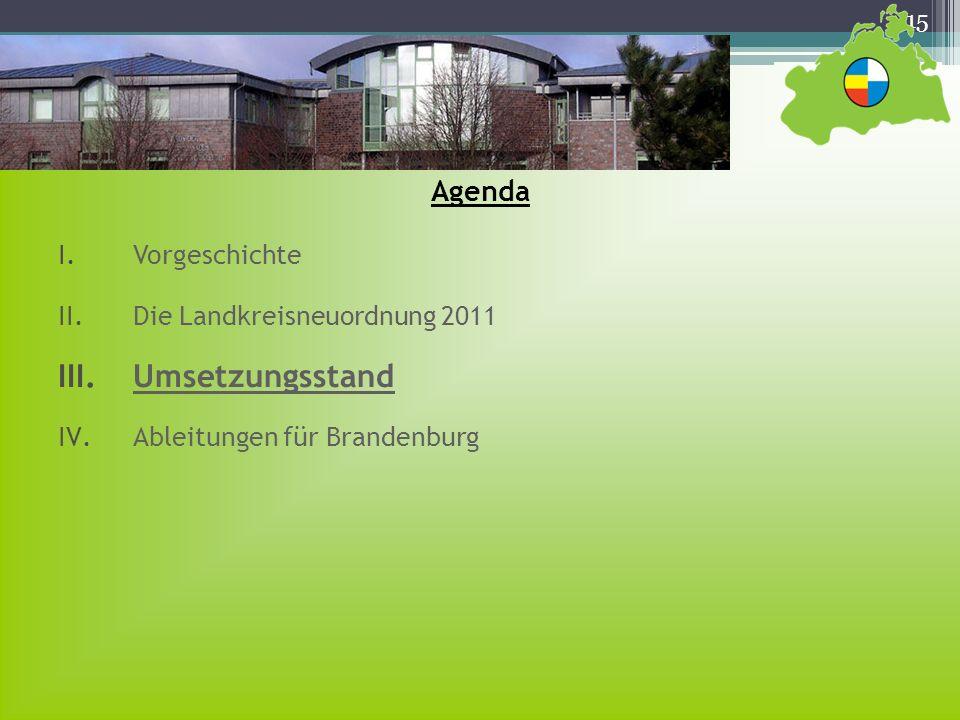 Umsetzungsstand Agenda Vorgeschichte Die Landkreisneuordnung 2011