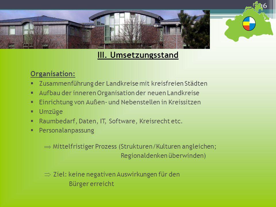 III. Umsetzungsstand Organisation:
