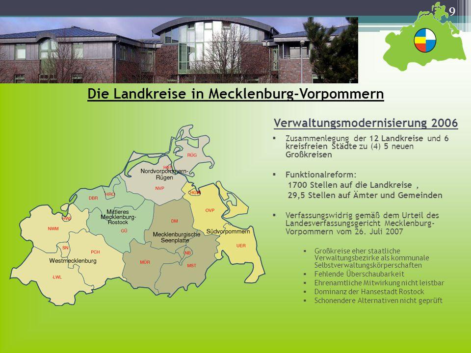 Die Landkreise in Mecklenburg-Vorpommern
