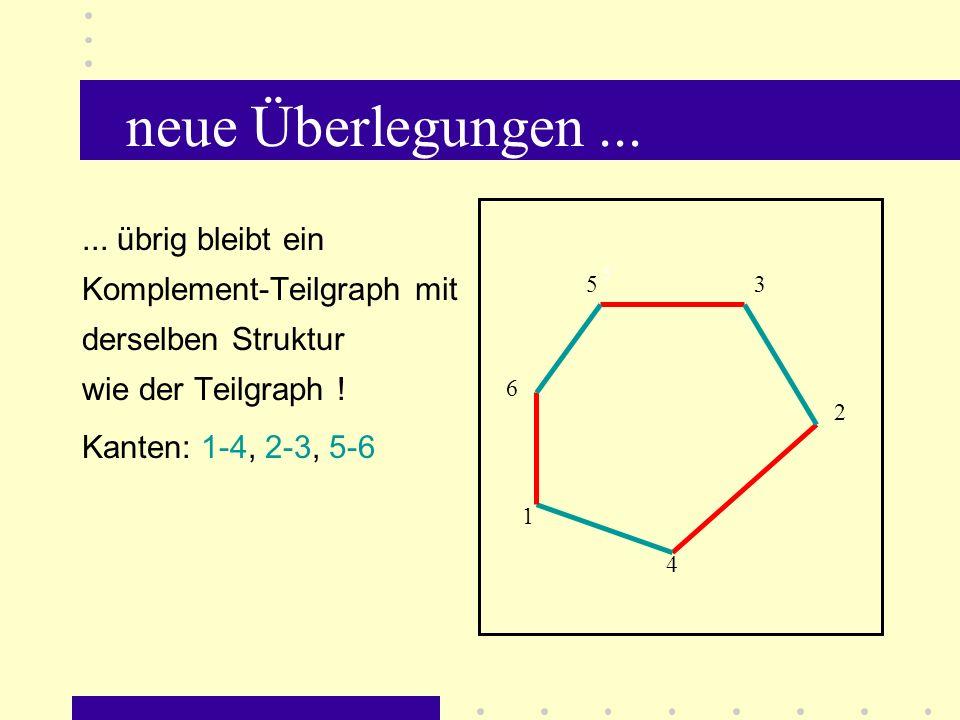 neue Überlegungen ... ... übrig bleibt ein Komplement-Teilgraph mit derselben Struktur wie der Teilgraph !