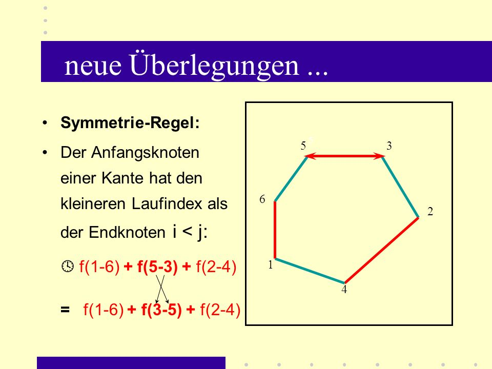 neue Überlegungen ...  f(1-6) + f(5-3) + f(2-4) Symmetrie-Regel: