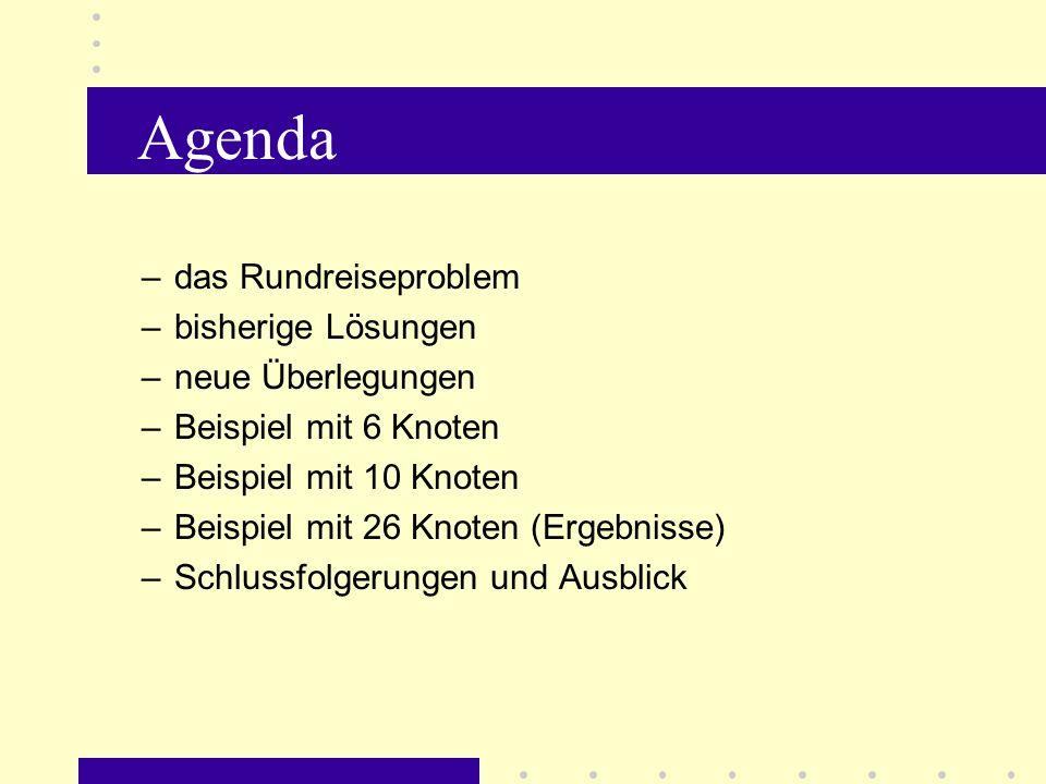 Agenda das Rundreiseproblem bisherige Lösungen neue Überlegungen