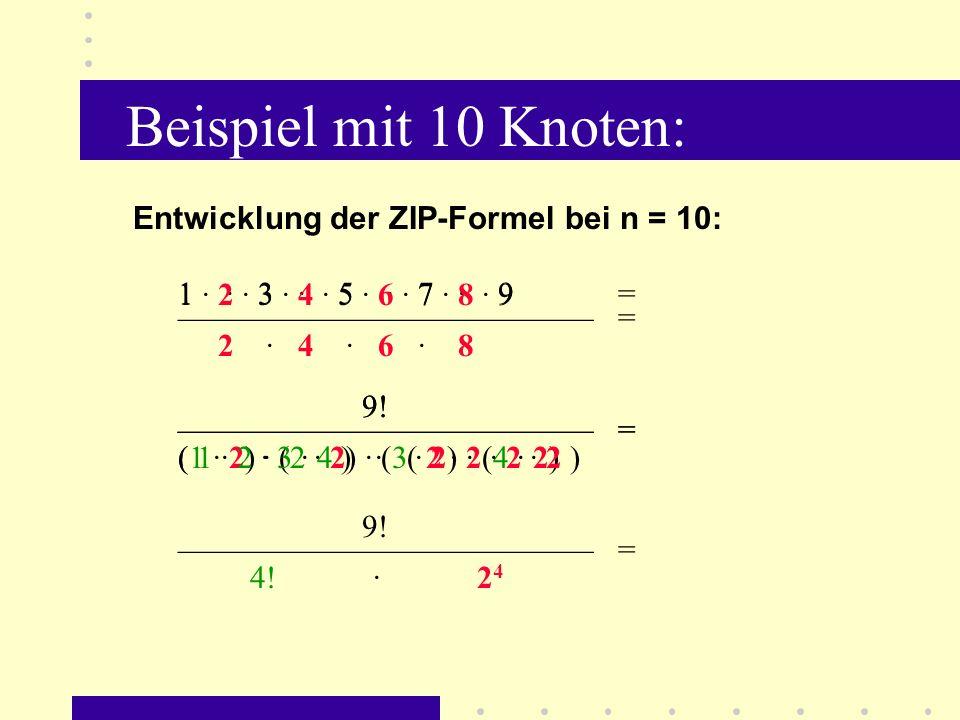 Beispiel mit 10 Knoten: Entwicklung der ZIP-Formel bei n = 10:
