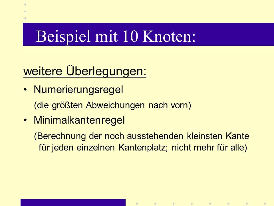 Beispiel mit 10 Knoten: weitere Überlegungen: Numerierungsregel