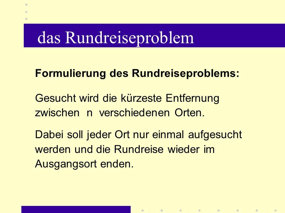 das Rundreiseproblem Formulierung des Rundreiseproblems: