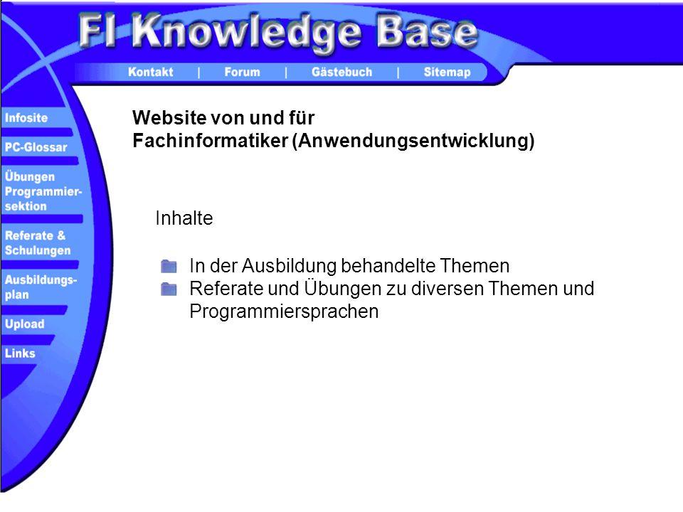 Website von und für Fachinformatiker (Anwendungsentwicklung)