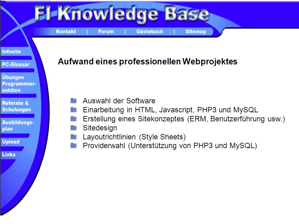 Aufwand eines professionellen Webprojektes