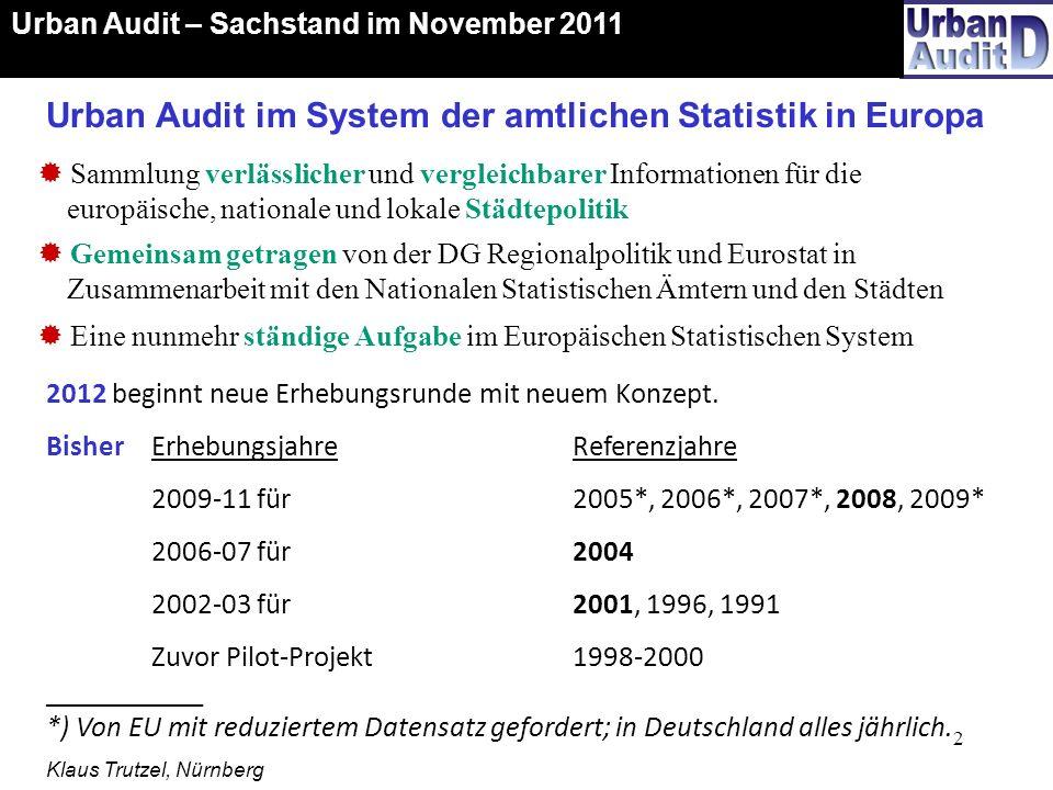Urban Audit im System der amtlichen Statistik in Europa