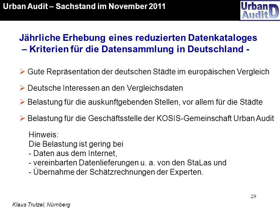 Urban Audit – Sachstand im November 2011