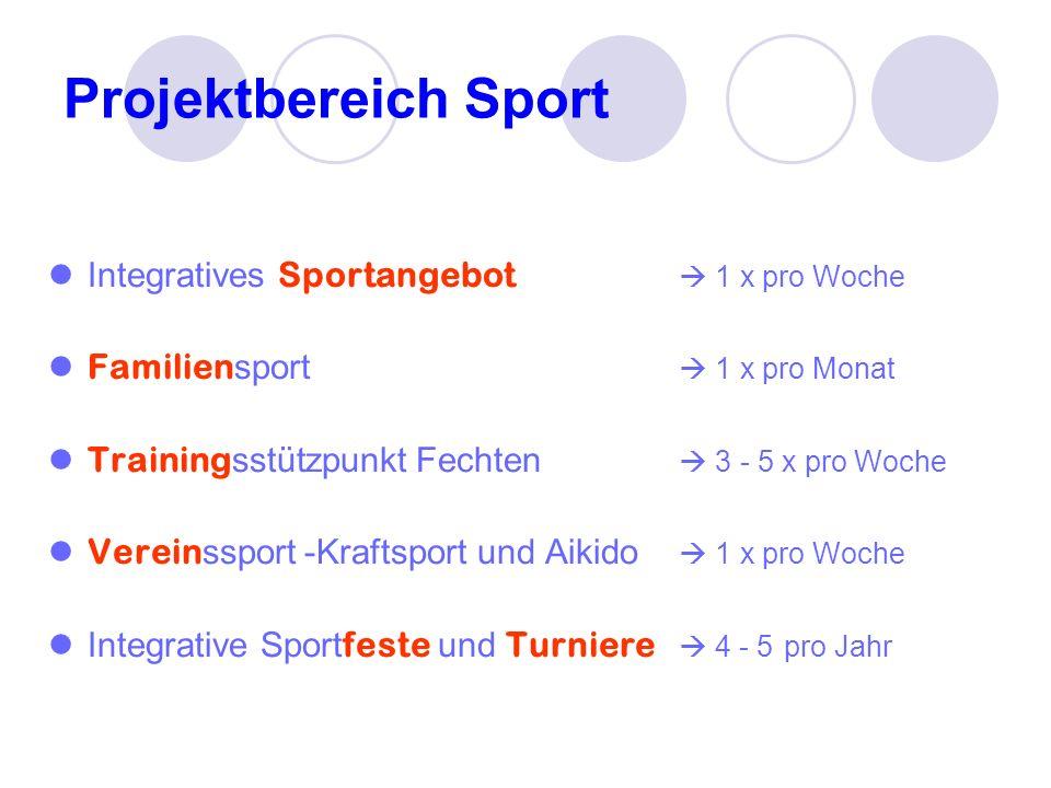 Projektbereich Sport Integratives Sportangebot  1 x pro Woche