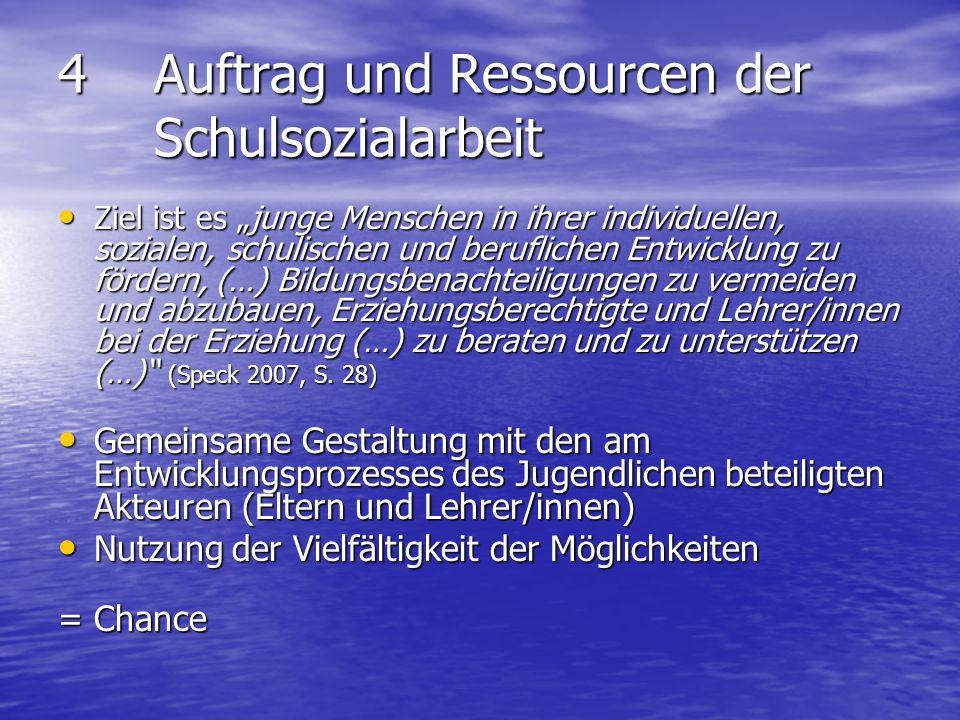 4 Auftrag und Ressourcen der Schulsozialarbeit