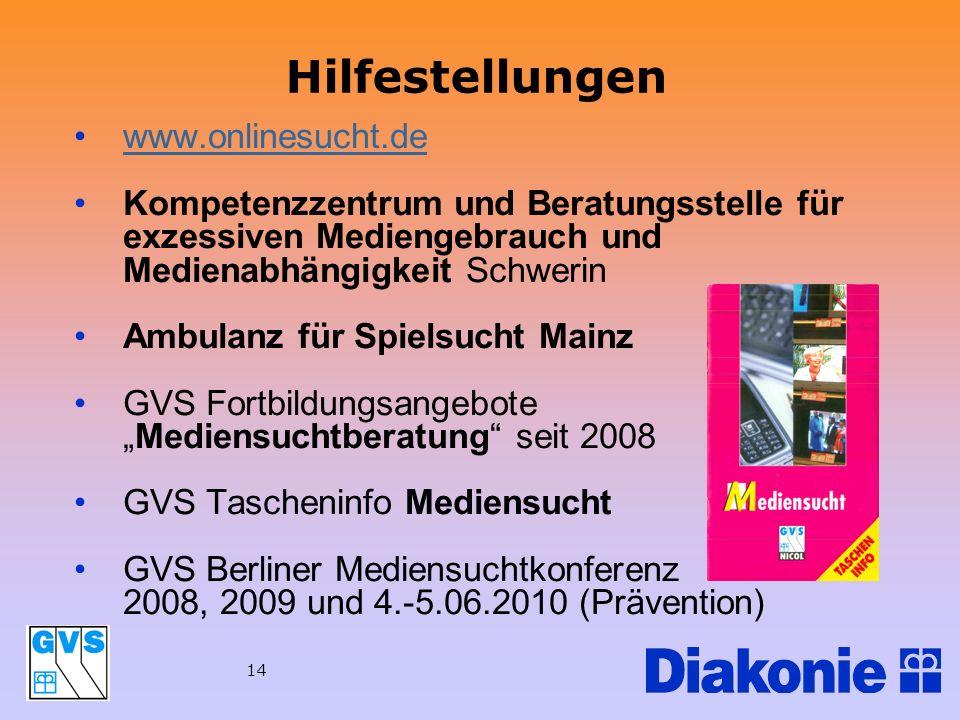 Hilfestellungen www.onlinesucht.de