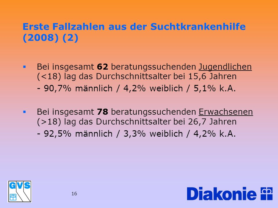 Erste Fallzahlen aus der Suchtkrankenhilfe (2008) (2)