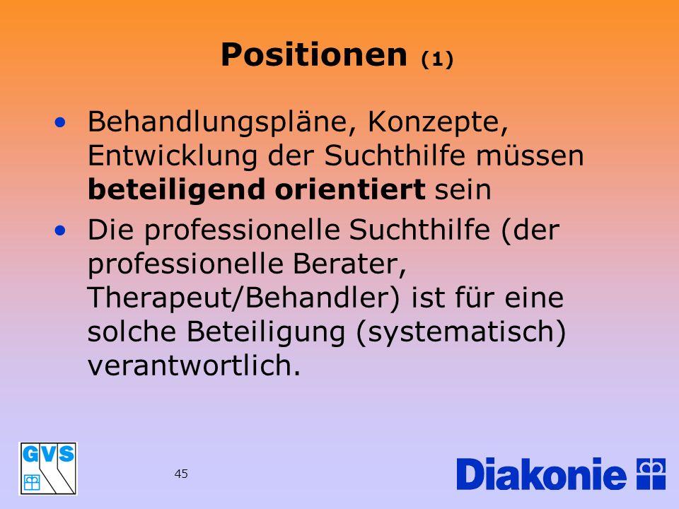 Positionen (1)Behandlungspläne, Konzepte, Entwicklung der Suchthilfe müssen beteiligend orientiert sein.