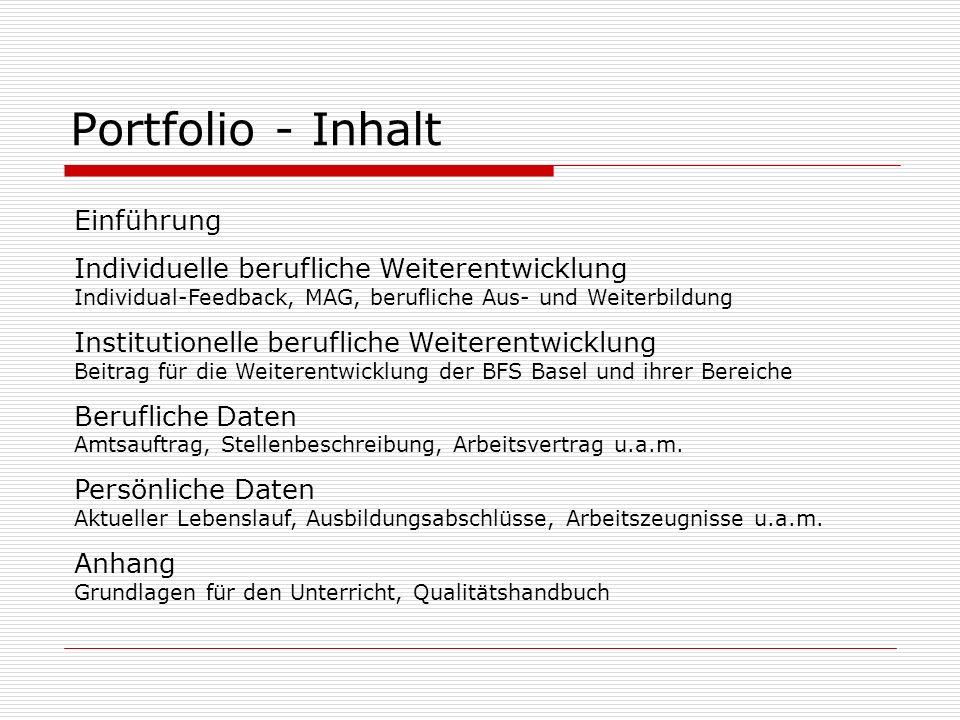 Portfolio - Inhalt Einführung