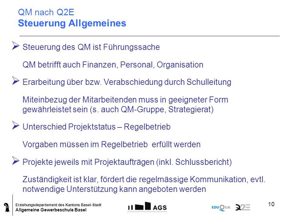QM nach Q2E Steuerung Allgemeines