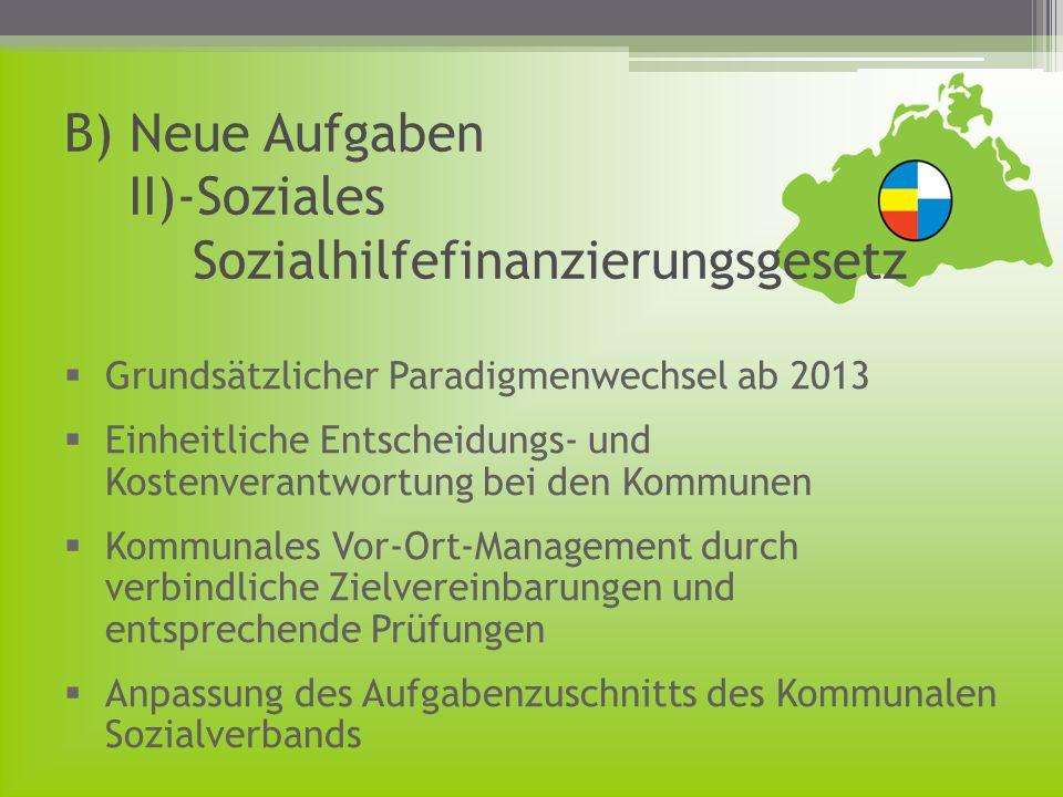 B) Neue Aufgaben II)-Soziales Sozialhilfefinanzierungsgesetz