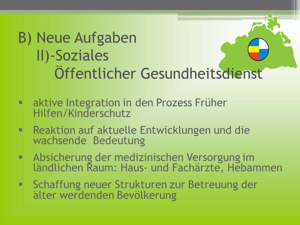 B) Neue Aufgaben II)-Soziales Öffentlicher Gesundheitsdienst