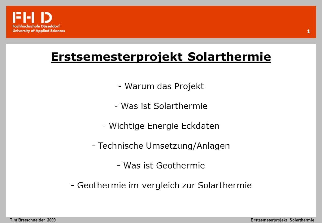 Erstsemesterprojekt Solarthermie