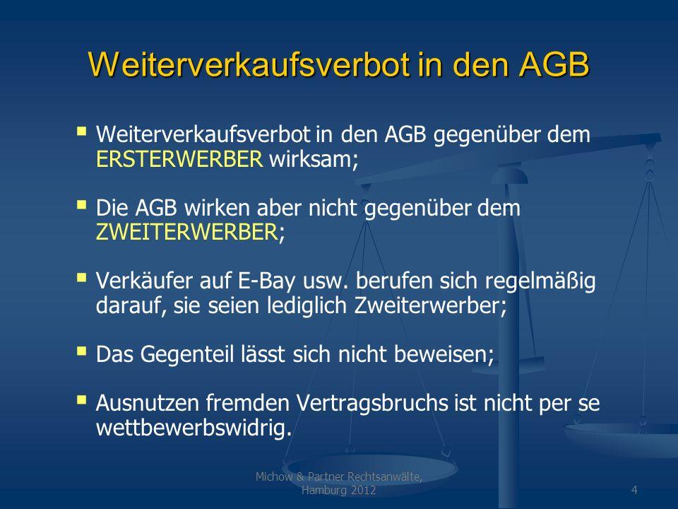 Weiterverkaufsverbot in den AGB