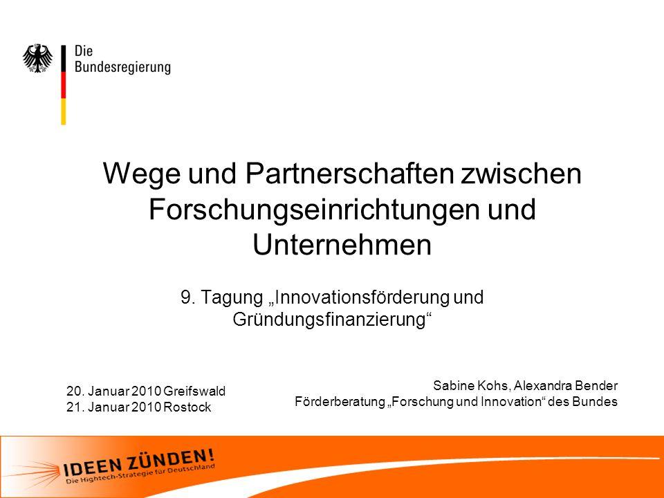 """9. Tagung """"Innovationsförderung und Gründungsfinanzierung"""