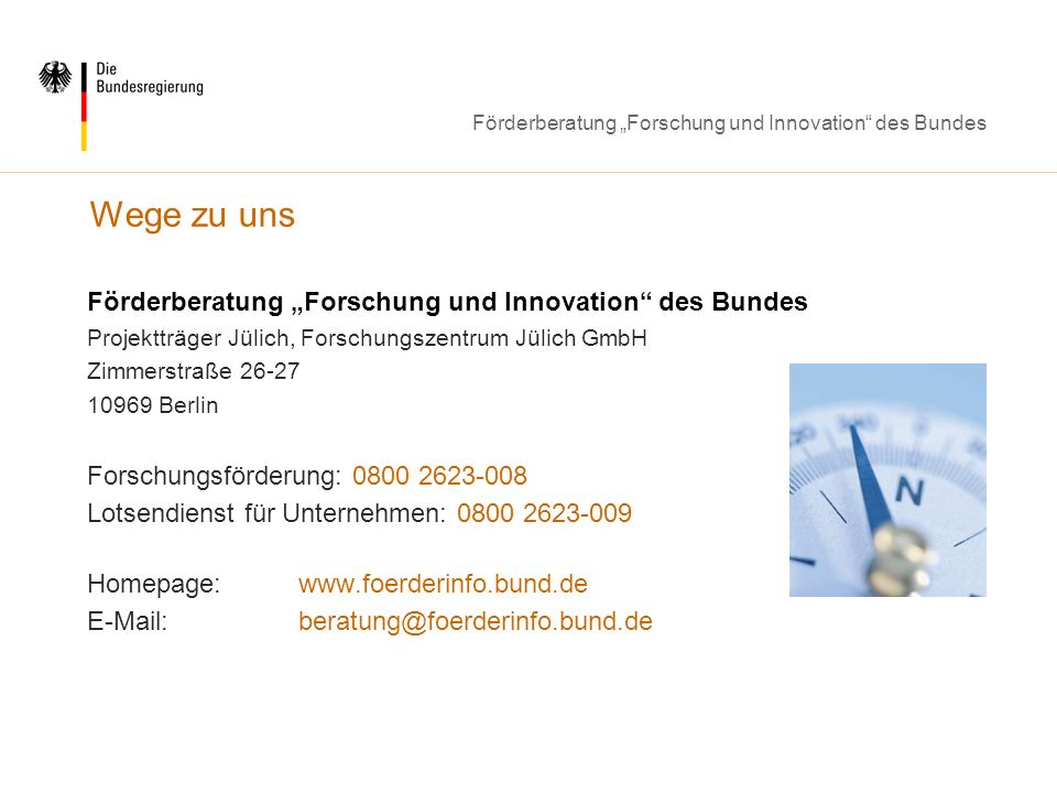 "Wege zu uns Förderberatung ""Forschung und Innovation des Bundes"
