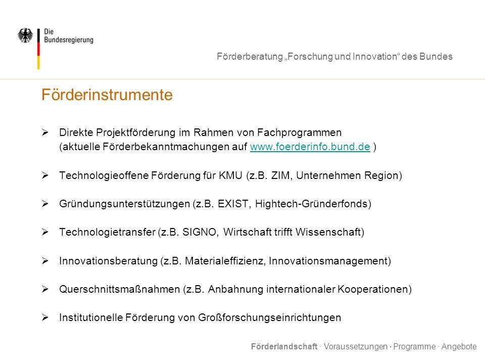 FörderinstrumenteDirekte Projektförderung im Rahmen von Fachprogrammen. (aktuelle Förderbekanntmachungen auf www.foerderinfo.bund.de )