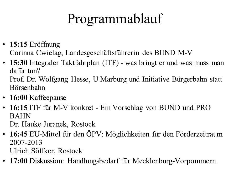 Programmablauf 15:15 Eröffnung Corinna Cwielag, Landesgeschäftsführerin des BUND M-V.
