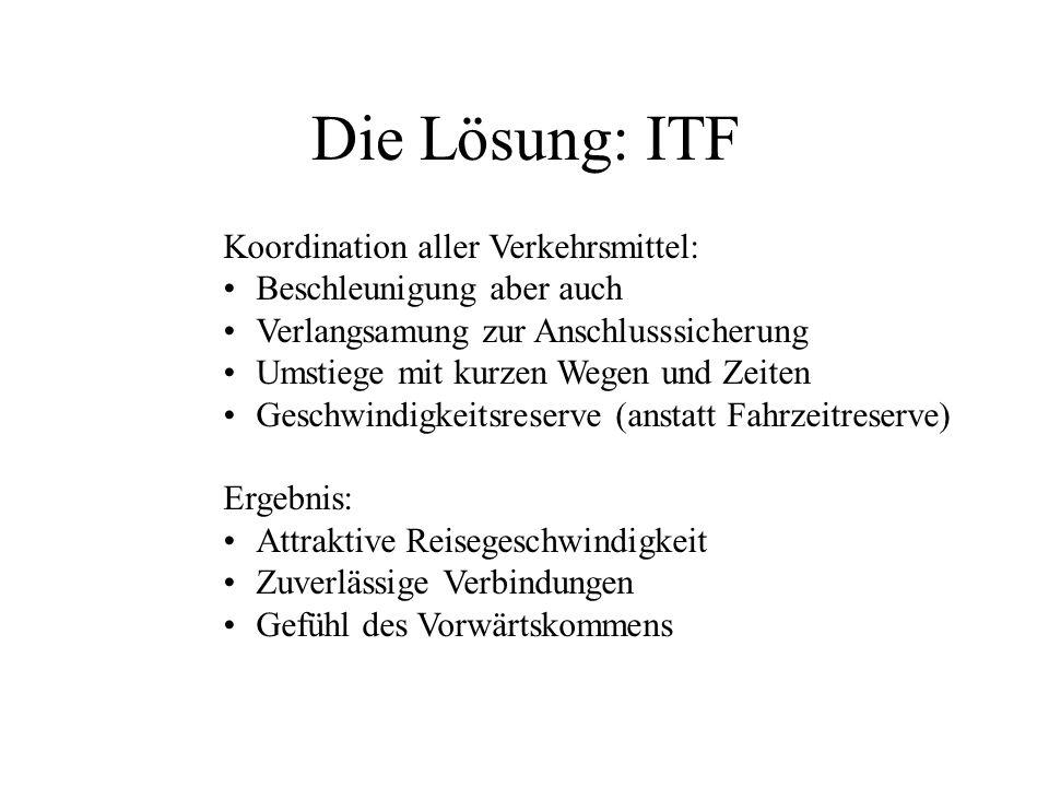 Die Lösung: ITF Koordination aller Verkehrsmittel: