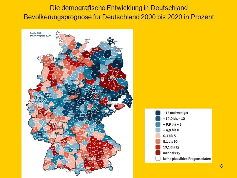 Die demografische Entwicklung in Deutschland Bevölkerungsprognose für Deutschland 2000 bis 2020 in Prozent