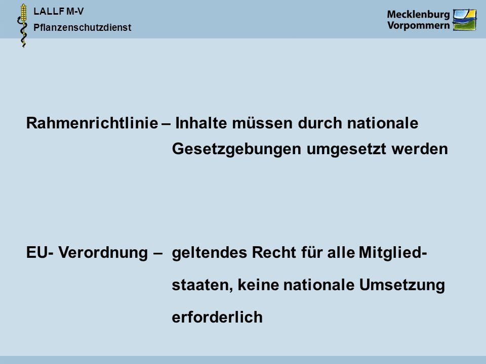 Rahmenrichtlinie – Inhalte müssen durch nationale
