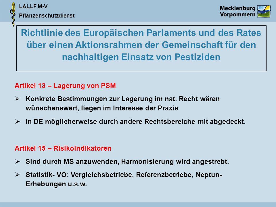 Richtlinie des Europäischen Parlaments und des Rates über einen Aktionsrahmen der Gemeinschaft für den nachhaltigen Einsatz von Pestiziden